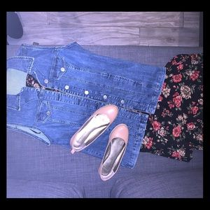 Floral skirt and Jean Jacket outfit
